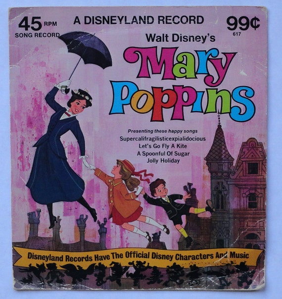 """Rare """"Mary Poppins"""" 45 RPM Vinyl Soundtrack (1975) - Very Good Condition"""