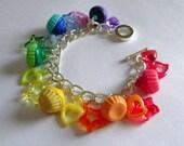 Rainbow cupcake charm bracelet