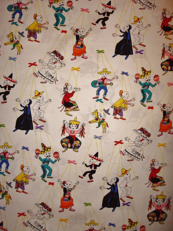 18 Inch Remnant Save 10 Percent Marionetas in White from Alexander Henry Day of the Dead Dia de los Muertos Fabric