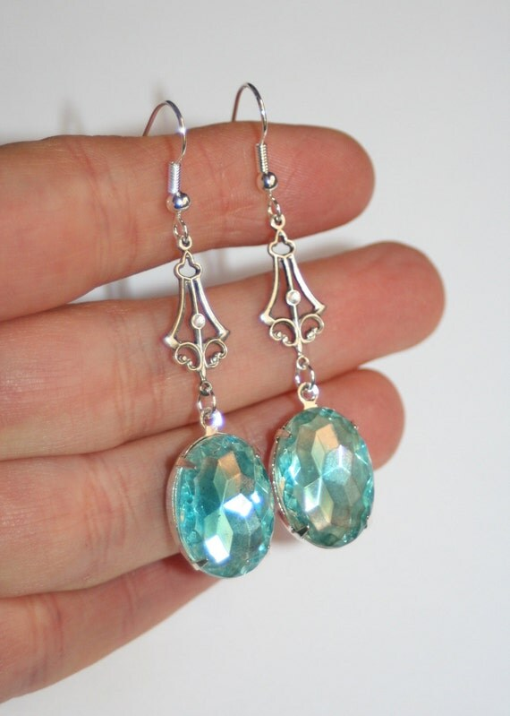 Vintage Nouveau scrolled silver Cuba German 1940s aqua clear crystal earrings
