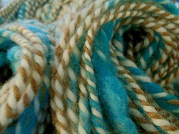 "Handspun Alpaca and Wool Bulky Art Yarn 116 Yards "" Beachcomber ""  (More Skeins Available on Page 3 in Separate Listing)"