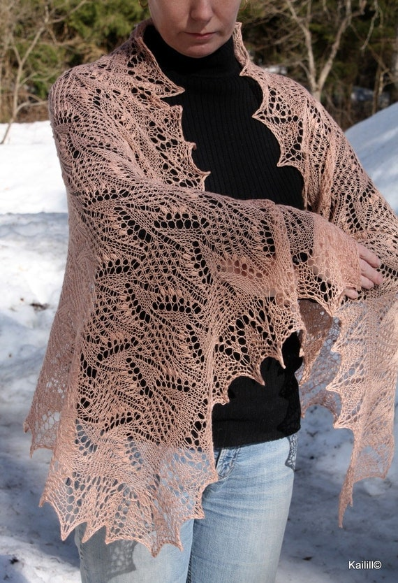Pasque flower motif shawl wrap stole hand knitted cashmere silk original estonian lace by Kailill