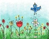 Sweetness Bird Flower Illustrated Wall Art Print