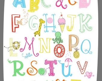 Illustrated Alphabet Wall Art Print