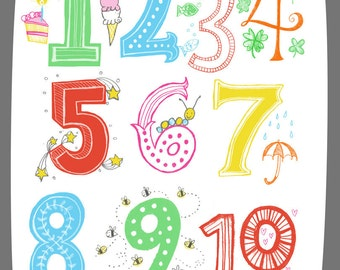 Illustrated Numbers Wall Art Print Count to 10 Bright Colors