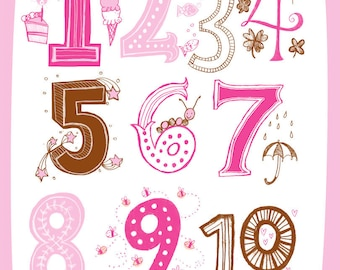 Illustrated Numbers Wall Art Print Count to 10 Pink Brown