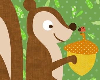 Wall Art Print Storybook Woodland Series- Squirrel