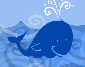 Ocean Wall Art Print Whale Octopus Boat Series- Whale Print