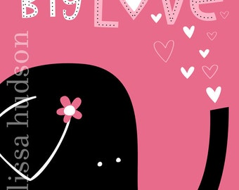 Wall Art Print Animal Series- Big Love Elephant Pink