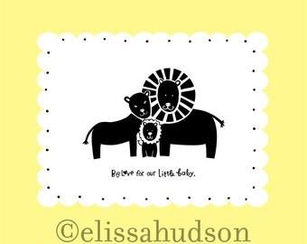 Animal Series Wall Art Print- Lion Family