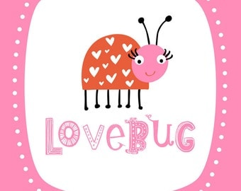 Wall Art Print Lovebug Print- Pink