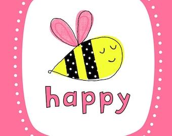 Bee Happy Wall Art Print- Pink