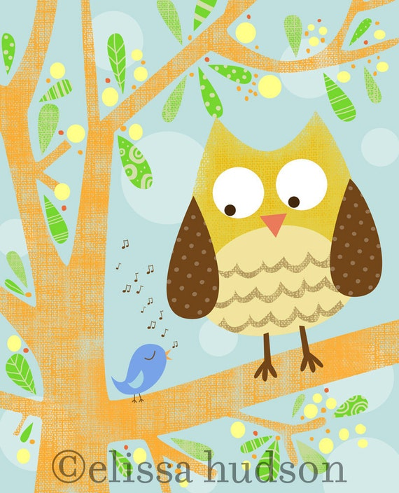 Wall Art Print Storybook Woodland Series- Owl