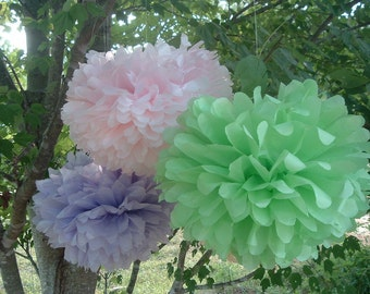 6 Tissue paper pom poms, pom poms, Wedding decorations, Baby, Bridal shower, Party decorations. Hanging pom poms. Hanging flower ball