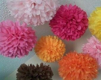 7 Decorative Pom Poms / paper poms / wedding decorations / tea party / pick your colors