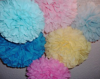 12 Tissue paper pom poms, Wedding decorations, Baby shower, Wedding anniversary, Bridal party, Party decorations.