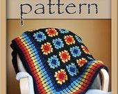 Autumn Rainbow Granny Square Afghan crochet PATTERN PDF 111