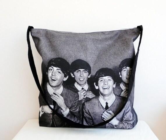 The BEATLES Face Print TOTE Bag ,Beach Bag,Messenger Bag,Shoulder Bag ,Handmade,EcoFriendly Organic Cotton Shopping Bag
