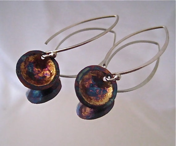 Fine silver earrings with 22k gold droplets