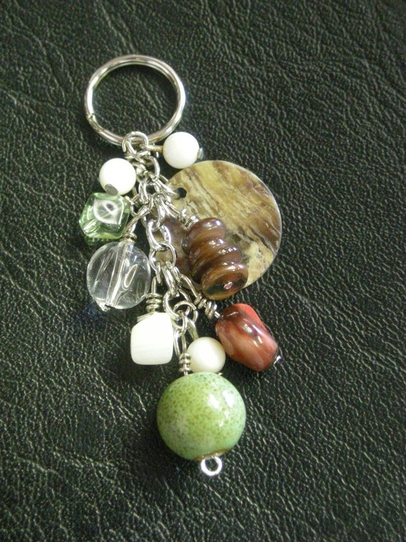Beaded Keychain in Greens, Browns, Reds, and Creams