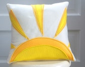 rise and shine - 12 inch eco felt pillow cover - cream and yellow