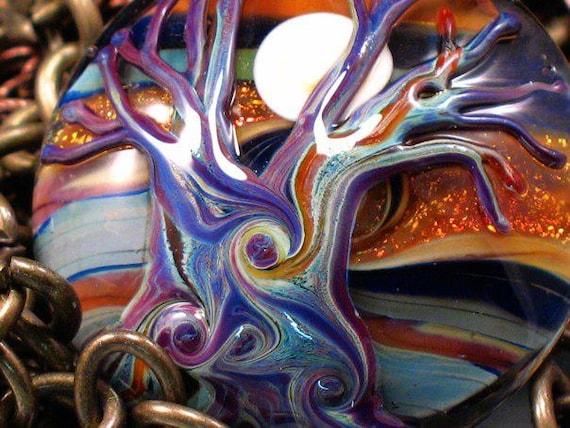 Autumn Moon - Handmade Lampwork Tree Focal Bead By Sra Artist Payton Jett