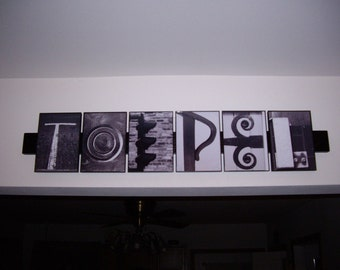 5x7 Custom Alphabet Photography Black and White Name Sign, Reclaimed Wood