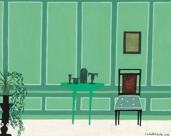Furniture in Green Room Giclee Print on Canvas 19 3/4 x 15 1/2