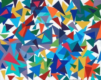 Multicolored Triangles Giclee Print on Canvas 20 x 16