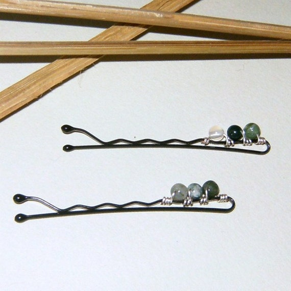 Moss Agate Wire Wrapped Bobby Pin Set