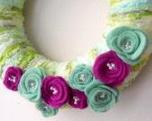 Yarn wreath home decor decoration felt roses - Fresh Lime uk seller