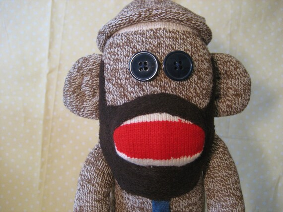 Beardy Monkey: Items Similar To Hipster Sock Monkey With Beard And Skinny