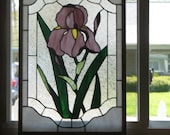 Purple Iris Stained Glass Panel Handmade