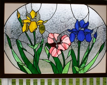 Stained Glass Window Art Iris Panel