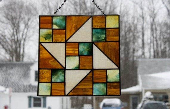 Stained Glass Suncatcher Pinwheel Quilt Block Panel