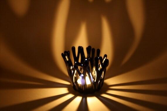 Blue Tea Light Candle Holder Fused Glass
