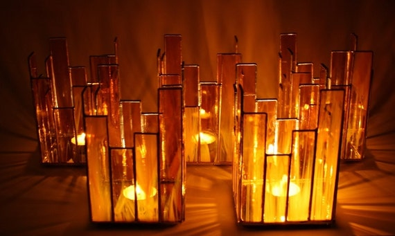 Custom Listing for Casie H-Amber Stained Glass Candle Holders