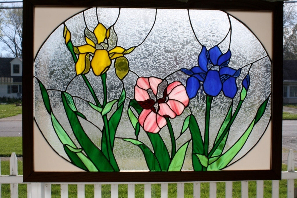 Stained glass window art iris panel for Art glass windows