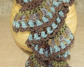 Crochet Scarf Taupe Green Turquoise Spiral Ruffle