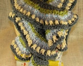 Ruffle Spiral Scarf in Grey Wheat and Green Crochet