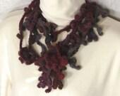 Skinny Scarf - Freeform Crochet Lariat - Belt - Red Blue