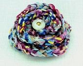 Flower Magnetic Pin - Crochet Pink Multi Fiber - Pink Purple Yellow Magenta