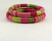 Pink Bangle Bracelets - Spring Bracelets - Fiber Bracelets in Hot Pink and Lime Green- Bubblegum Soft Duo