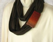 Circle Scarf -  Chocolate Brown Jersey Infinity Loop with Rust Gold Taupe Crochet