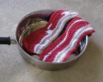 Crochet Cotton Dishcloth - Freeform Bacon Strip Washcloth