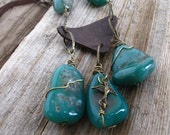 Large Chunky Teal Green Agate Statement Necklace