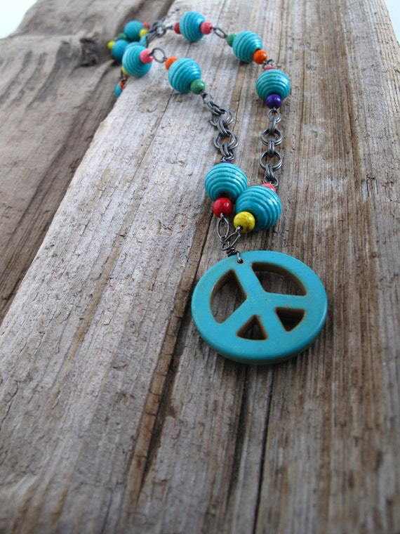 Teal Peace Out Necklace Southwest Hippie Style