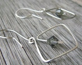 Minimalist Sterling Silver Earrings with Gray Crystals, Art Deco, Geometric, Spring Fashion