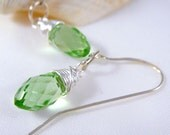Spring Green Earrings with Sterling Silver Wire Wrap, Modern Dangle