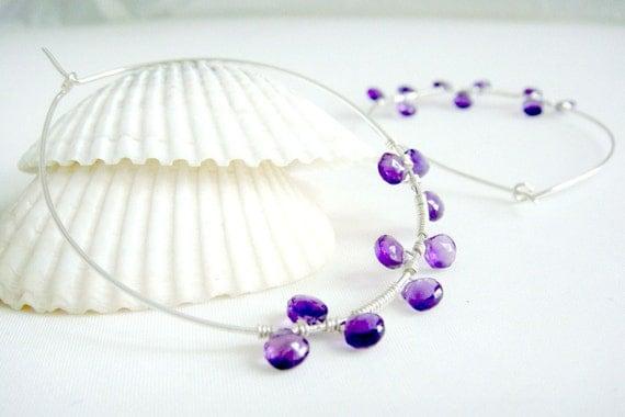 Purple Amethyst Hoop Earrings, Sterling Silver, Modern Wire Wrap, Gemstone